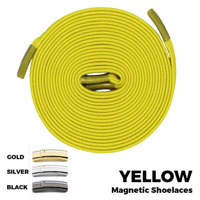 Yellow Magnetic Shoelace Lock Flat Elastic No Tie Laces